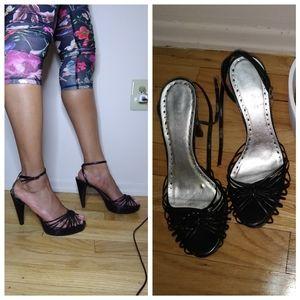 BCBG black strappy peep-toe heel